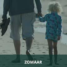 Strandwandeling vader dochter hand in hand